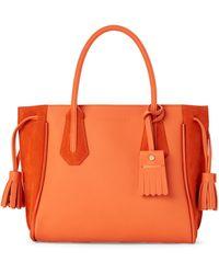 Longchamp Orange Penelope Soft Small Leather Tote
