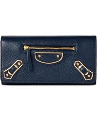 Balenciaga - Blue Classic Leather Continental Wallet - Lyst