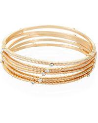 Natasha Couture 5-piece Gold-tone Embellished Bangles - Metallic