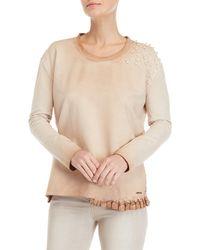 GAUDI - Embellished Lace Trim Sweatshirt - Lyst