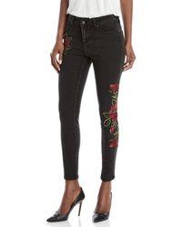 Velvet Heart - Rose Embroidered Mid-rise Skinny Jeans - Lyst