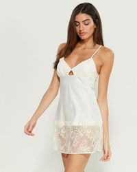Rya Collection Queen Satin Lace Chemise - White