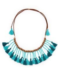 pannee by panacea - Teal Fringe Statement Necklace - Lyst
