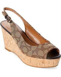 COACH - Khaki & Chestnut Ferry Signature Cork Wedge Sandals - Lyst