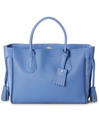 Longchamp Blue Mist Penelope Leather Tote