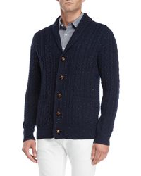 Barque - Navy Speckled Shawl Collar Cardigan - Lyst