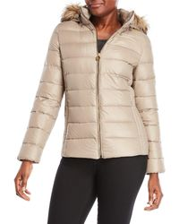 MICHAEL Michael Kors - Faux Fur Trim Hooded Down Packable Jacket - Lyst
