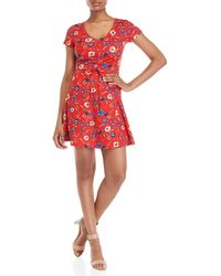 Almost Famous - Floral Ruched Skater Dress - Lyst
