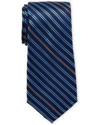 Karl Lagerfeld Striped Slim Silk Tie - Blue