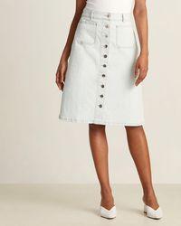 Kate Spade Bleached Denim Button Midi Skirt - White