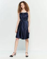 Yumi' Navy Embellished Satin Party Dress - Blue