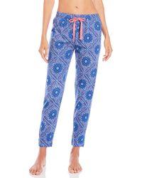 Cozy Zoe Print Knit Pajama Pants - Blue