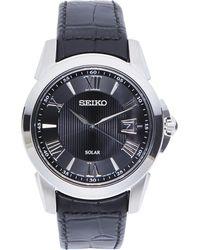Seiko - Sne397 Silver-Tone & Black Watch - Lyst