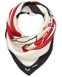 Moschino Printed Silk Scarf - Red
