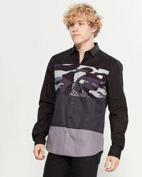 Versace Jeans Camouflage Color Block Long Sleeve Shirt - Black