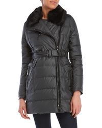 Vince Camuto - Coated Faux Fur-trimmed Coat - Lyst