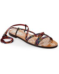 Valentino - Santeria Woven Lace-up Flat Sandals - Lyst