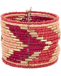 pannee by panacea Gold-tone & Pink Beaded Cuff Bracelet