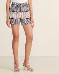 Le Mont St Michel Striped Drawstring Shorts - Blue