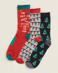 Jessica Simpson 3-pack Lit This Year Crew Socks - Red