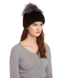 Belle Fare - Real Mink & Silver Fox Fur Hat - Lyst