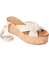 Jimmy Choo Natural & Gold Norah Ankle-wrap Platform Sandals - Multicolor