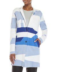Le Mont St Michel Patterned Knit Boat Coat - Blue