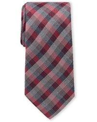 Michael Kors Wine City Plaid Silk Tie - Purple