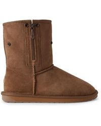 EMU Chestnut Stinger Lo Zip Shearling-lined Suede Boots - Brown