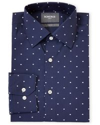 Bonobos Navy Dot Stretch Slim Fit Dress Shirt - Blue