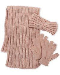 Betsey Johnson 3-piece Scarf Headband & Glove Gift Set - Pink