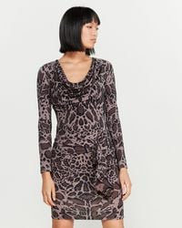 Roberto Cavalli - Leopard Print Draped Dress - Lyst