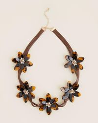Natasha Couture Brown & Tortoiseshell-look Flower Necklace - Multicolor