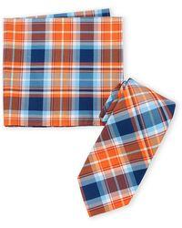 Nautica Orange Kent Plaid Tie & Pocket Square