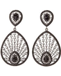 Bavna - Sterling Silver Black Spinel & Zircon Drop Earrings - Lyst