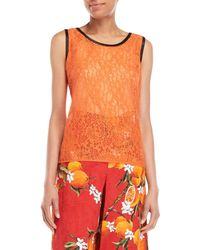 Dolce & Gabbana - Orange Lace Sleeveless Top - Lyst