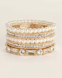 Natasha Couture 5-piece Gold-tone Embellished Bracelets - Metallic