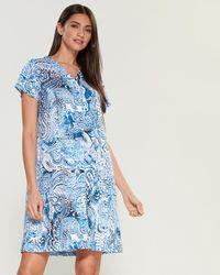 Miss Elaine Tie-dye Paisley V-neck Nightgown - Blue