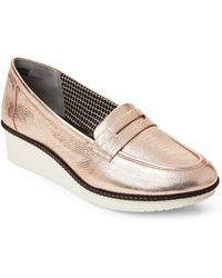 Robert Clergerie - Rose Gold Valerie Wedge Loafers - Lyst