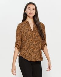 Lush Animal Print Roll Sleeve Top - Brown