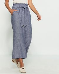 Fever Paperbag Waist Linen-blend Culottes - Blue