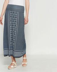Max Studio Printed Jersey Maxi Skirt - Blue