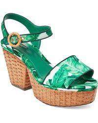 Dolce & Gabbana - Banana Leaf Wicker Platform Sandals - Lyst