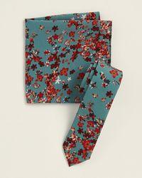 Original Penguin Two-piece Claire Floral Teal Pattern Tie & Pocket Square Set - Blue