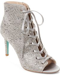 Betsey Johnson - Blue By Alexi Rhinestone Lace Up Dress Booties - Lyst