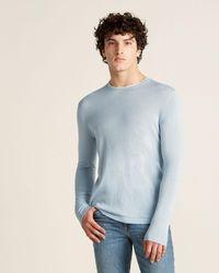 Patrick Assaraf Silk-blend Long Sleeve Sweater - Blue