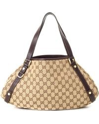 3c908dbda51 Lyst - Gucci Pink Gg Canvas   White Leather Abbey Tote in Pink