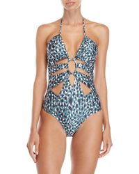 Suboo - Printed Splice Front One-piece Swimsuit - Lyst