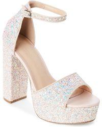Wild Diva - Blush Fanny Glitter Platform Block Heel Sandals - Lyst