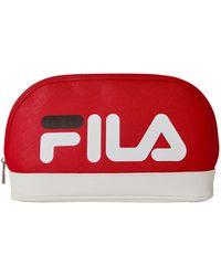 Fila Color Block Logo Cosmetic Case - Red